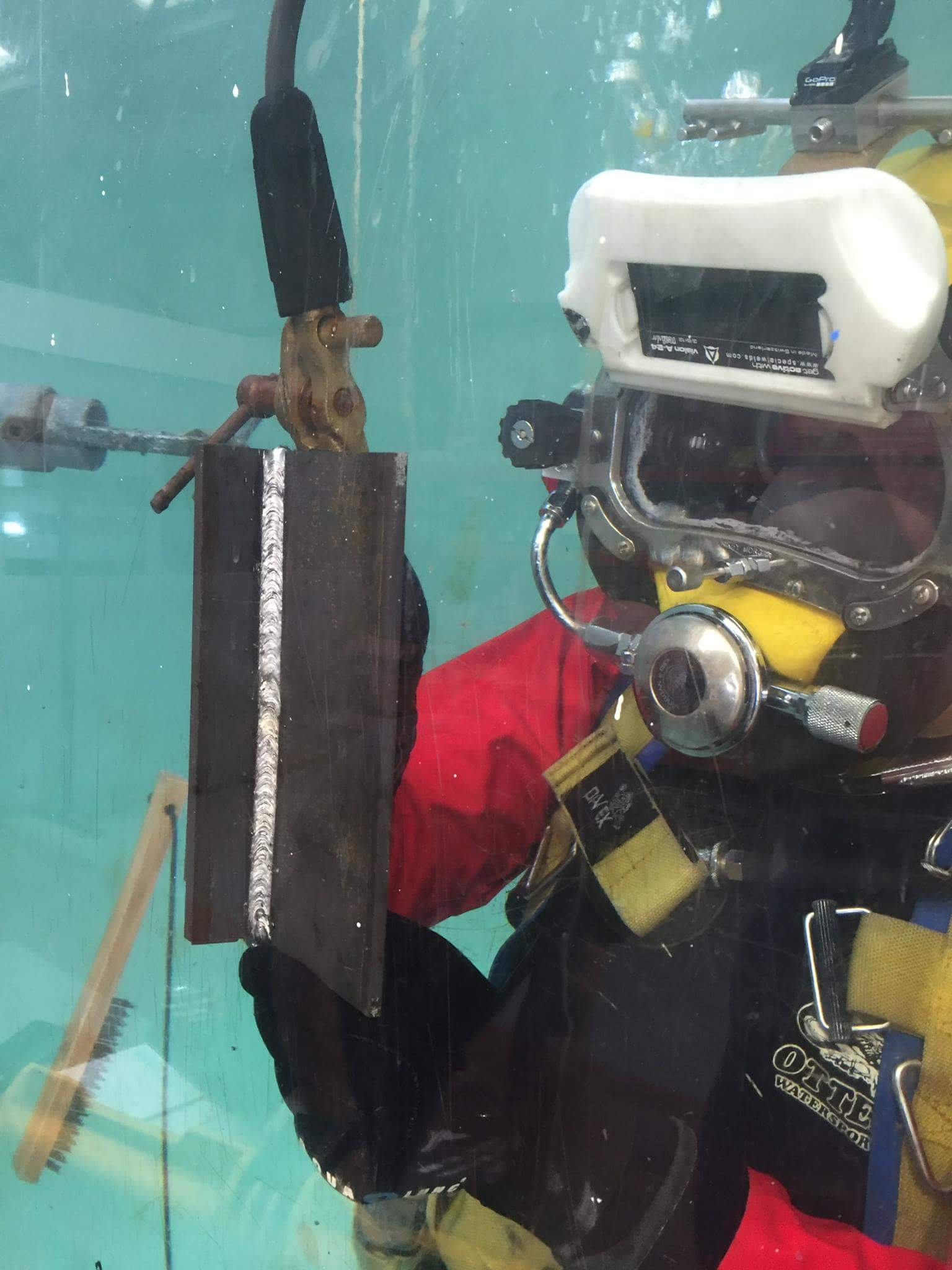 A diver showing welded steel